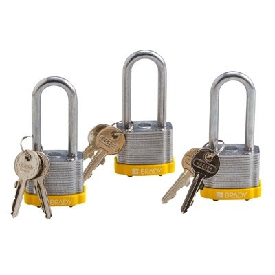 Brady Keyed Alike 2 inch Shackle Steel Locks - Yellow - Part Number - 105896 - 3/Pack