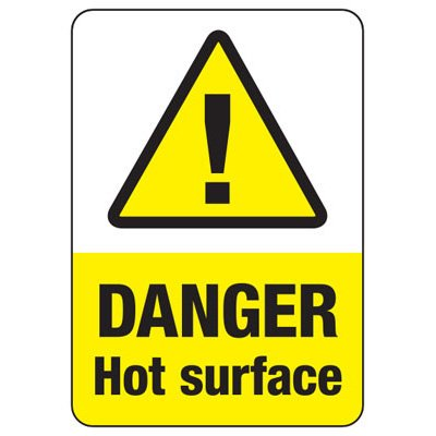 Temperature Warning Signs - Danger Hot Surface