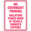No Overnight Parking No Parking Signs