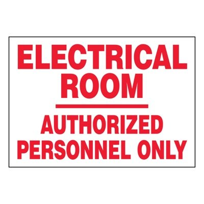 Ultra-Stick Signs - Electrical Room