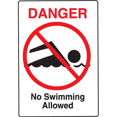 Water Safety Signs - Danger - No Swimming Allowed