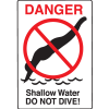 Water Safety Signs - Danger - Shallow Water No Diving
