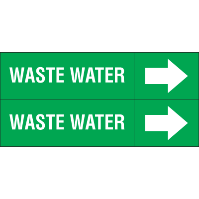 Weather-Code™ Self-Adhesive Outdoor Pipe Markers - Waste Water