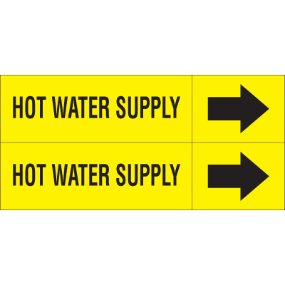 Weather-Code™ Self-Adhesive Outdoor Pipe Markers - Hot Water Supply