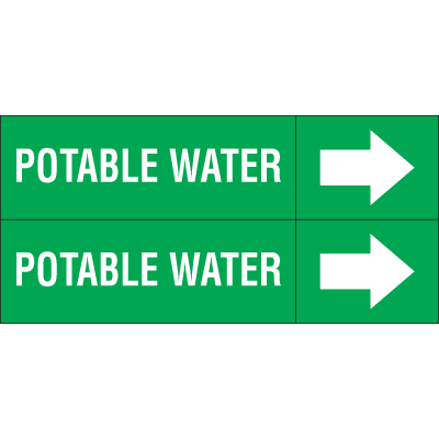 Weather-Code™ Self-Adhesive Outdoor Pipe Markers - Potable Water