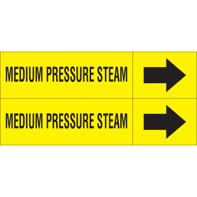 Weather-Code™ Self-Adhesive Outdoor Pipe Markers - Medium Pressure Steam