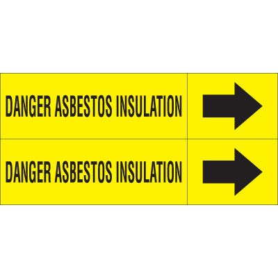 Weather-Code™ Self-Adhesive Outdoor Pipe Markers - Danger Asbestos Insulation