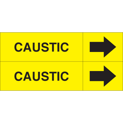 Weather-Code™ Self-Adhesive Outdoor Pipe Markers - Caustic