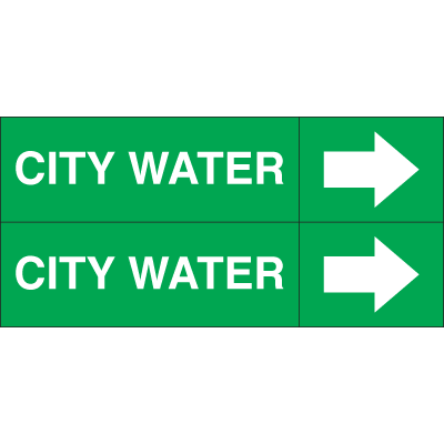 Weather-Code™ Self-Adhesive Outdoor Pipe Markers - City Water