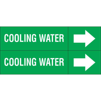 Weather-Code™ Self-Adhesive Outdoor Pipe Markers - Cooling Water