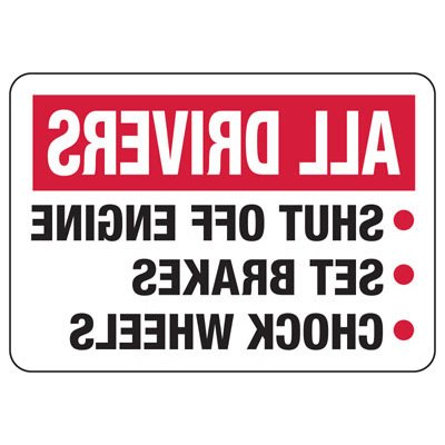 All Drivers Safety Rules - Mirror View Wheel Chock Signs