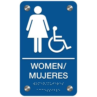 Women (Accessibility) - Bilingual Premium ADA Restroom Signs