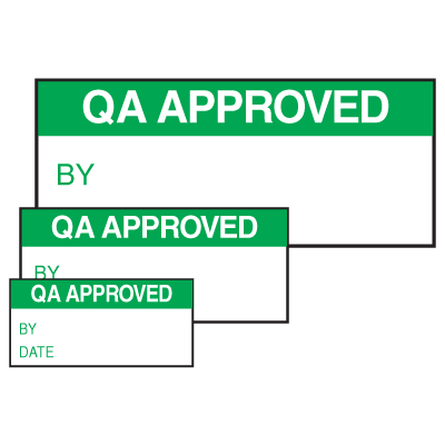 QA Approved By Date Self Laminating Labels