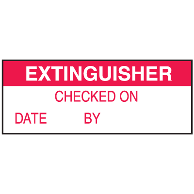 Extinguisher Checked On By Date WriteOn Labels