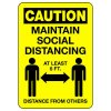 Caution Maintain Social Distancing Signs