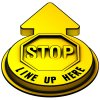 Stop Line Up Here Outdoor 3D Floor Sign - Yellow