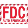 Fire Department Connection Sign: FDC Auto Sprinkler (With Striped Border)