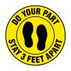 Floor Markers - Stay 3 Feet Apart - Yellow