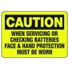Caution Face & Hand Protection Must Be Worn - Battery Charging Signs