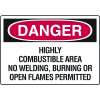 Danger Signs - Highly Combustible Area No Welding, Burning Or Open Flames Permitted