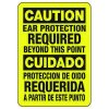 Bilingual Caution Ear Protection Required - Ear Protection Sign