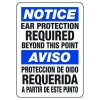 Bilingual Notice Ear Protection Required - Machine Safety Signs