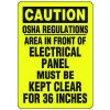 Eco-Friendly Signs - Caution OSHA Regulations Area in Front Of Electrical Panel Must Be Kept Clear For 36 Inches