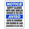 Bilingual Notice Safety Glasses With Side Shields Required - PPE Sign