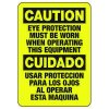 Bilingual Caution Eye Protection Must Be Worn - PPE Sign
