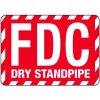 Fire Department Connection Sign: FDC Dry Standpipe (Red With Striped Border)