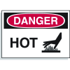 Hazard Warning Labels - Danger Hot (With Graphic)