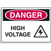 Hazard Warning Labels - Danger High Voltage (With Graphic)
