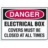 Lockout Hazard Warning Labels- Electrical Box Covers Must Be Closed At All Times