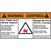 NEC Arc Flash Protection Labels - Bilingual - Arc Flash And Shock Hazard Warning/Advertencia