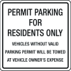 Parking Permit Signs - Residents Only