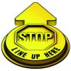 3D Floor Marker - Stop Line Up Here - Yellow