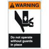 ANSI Z535 Safety Labels - Warning Do Not Operate Without Guards