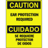 Bilingual Hazard Warning Labels - Caution Ear Protection Required