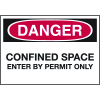Confined Space Labels - Danger Confined Space Enter By Permit Only