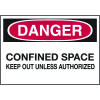 Confined Space Labels - Danger Confined Space Keep Out Unless Authorized