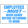 Facility Reminder Labels- Employees Must Wash Hands Before Returning To Work