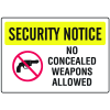Gun Prohibition Signs - No Conealed