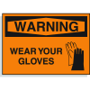 Hazard Warning Labels -Warning Wear Gloves (With Graphic)