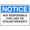 Locker Signs - Not Responsible For Lost Or Stolen Property