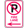 No Parking Signs - Fire Lane with No Parking Symbol and Left Arrow
