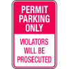 Parking Permit Signs - Permit Parking Only