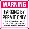 Parking Permit Signs- Warning Parking By Permit Only