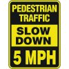 Reflective Pedestrian Crossing Signs - Pedestrian Traffic Slow Down 5 MPH