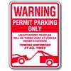 Tow Away Zone Signs - Warning Permit Parking Only (With Graphic)