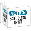 3-Way View Spill Control Signs - Notice Spill Clean Up Kit